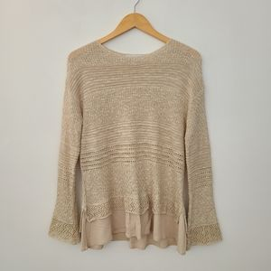 Knox Rose Layered Look Cream Sweater, Bell Sleeves